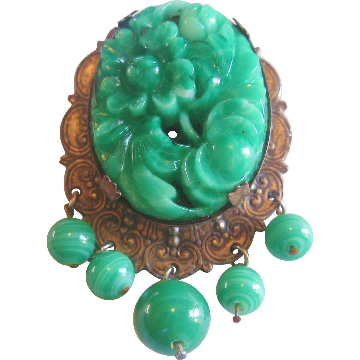 Huge Vintage Czech Press Molded Jadeite Glass and Brass Brooch-Pin