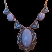 Vintage Czech Satin Glass and Enamel Necklace