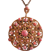 Large Vintage Czech Brass and Peach Art Glass Necklace