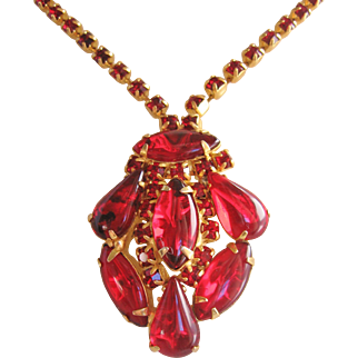 Vintage Red Cab Glass and Rhinestone Necklace