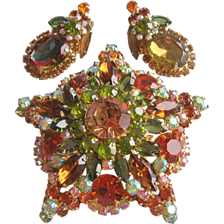 Vintage Juliana Star Rhinestone Pin and Earrings