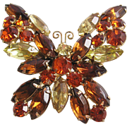 Vintage Weiss Rhinestone Butterfly Pin