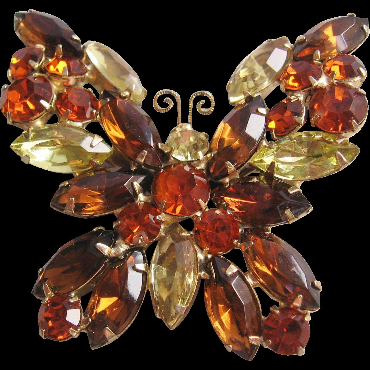 Vintage Weiss Rhinestone Butterfly Pin