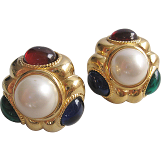 Vintage Large Ciner Simulated Pearl-Emerald-Ruby-Sapphire Clip Earrings