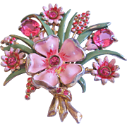 Large Vintage Enamel and Floral Pink Glass Brooch-Pin