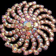 Huge Vintage Aurora Statement Pin Brooch