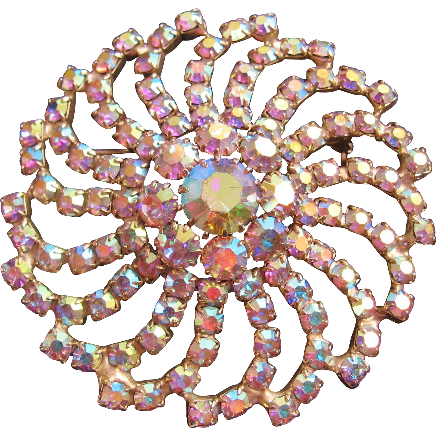 Huge Vintage Aurora Statement Pin Brooch