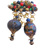 Vintage Bead and Brass Pin-Brooch