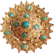 Vintage Large Gold Tone with Green Glass Accents Brooch-Pin-Pendant