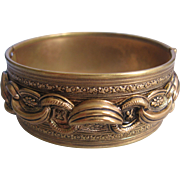 Vintage Brass Wide Bangle Bracelet