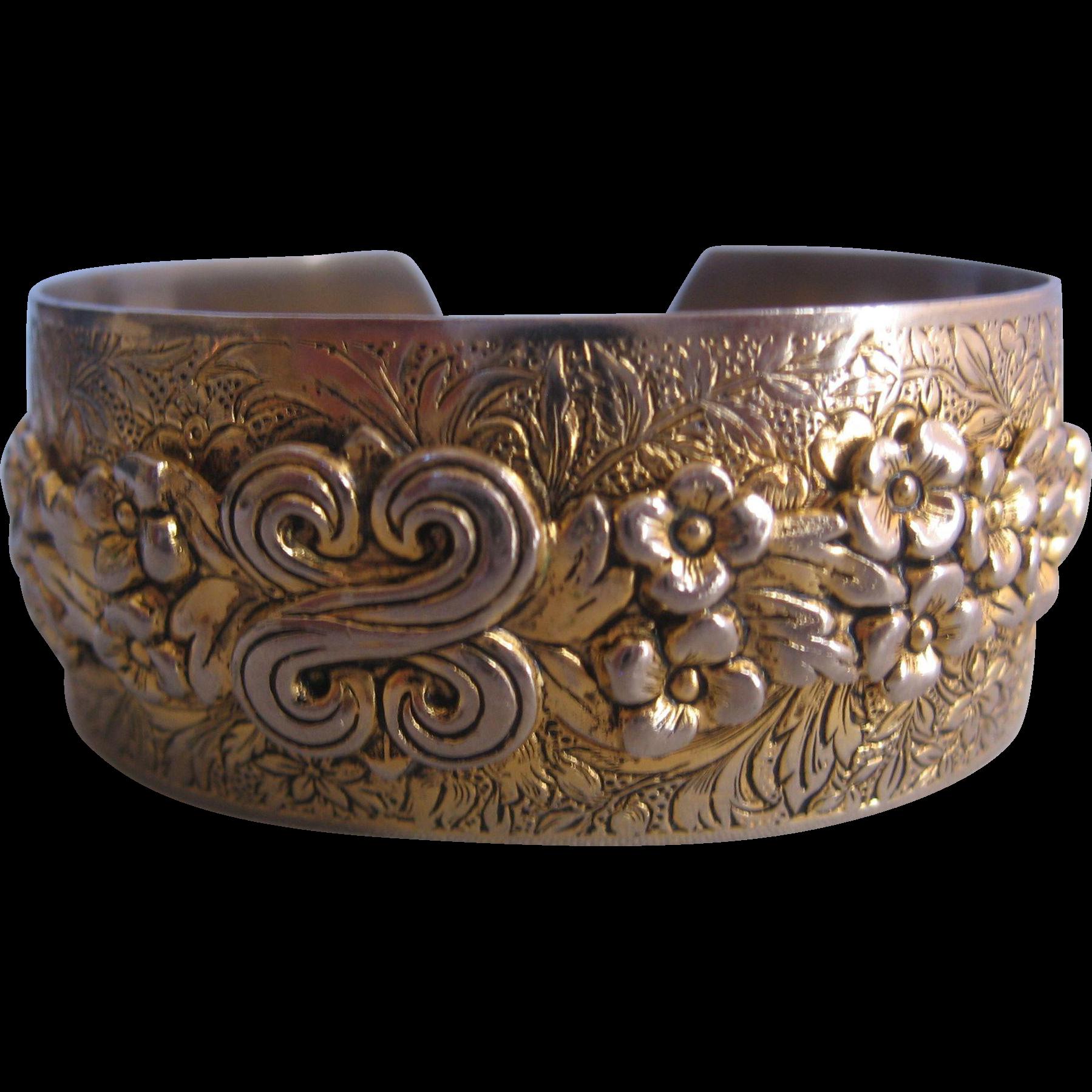 Vintage Brass Floral Cuff Bracelet From