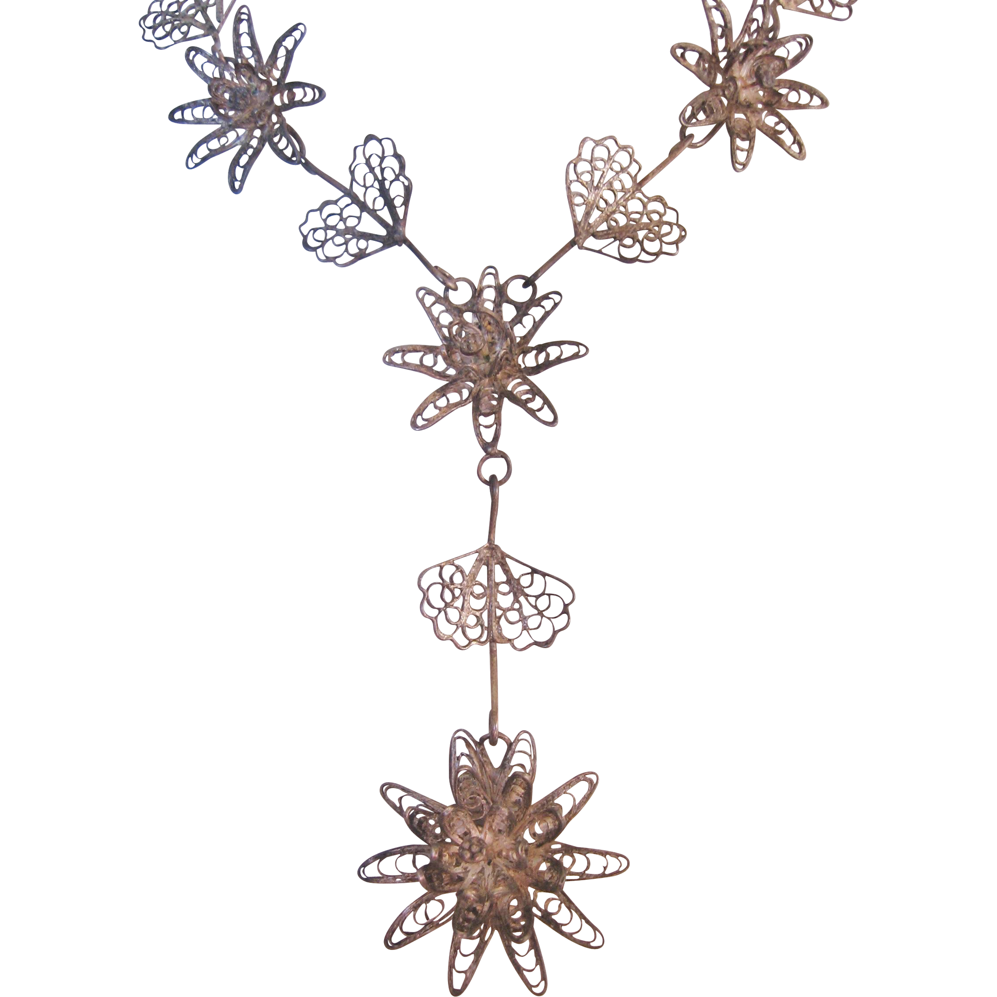 Vintage Cannetille Filigree Floral Necklace
