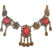 Vintage Simulated Coral Glass and Brass Festoon Necklace