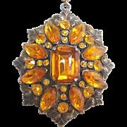 Vintage Pot Metal Amber Glass Pendant Necklace