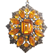 Vintage Pot Metal Amber Glass Pendant Necklace