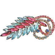 Vintage Pink and Blue Rhinestone Brooch Pin