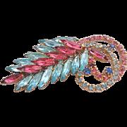 Vintage Pink and Blue Rhinestone Brooch Pin