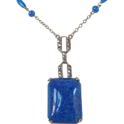 Vintage Czech Faux Glass Lapis Lazuli  and Marcasite Necklace