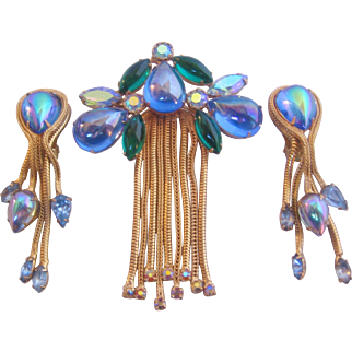 Vintage Blue Art Glass Brooch/Pin and Earrings Set
