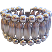 Vintage Silver tone Wide Cuff Bracelet
