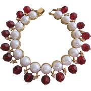 Vintage Crown Trifari Simulated Pearl and Red Crystal Bracelet