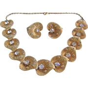 Vintage Textured Lily Pad Gold tone-Rhinestone Necklace and Earrings Set