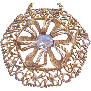 Vintage Huge Gold Tone Flower Necklace with Crystal Stone