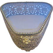 Vintage Ormolu Jewelry Box-Casket with Beveled Glass Top