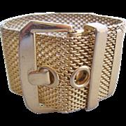Vintage Gold tone Mesh Buckle Bracelet