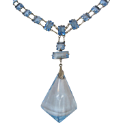 Art Deco German Blue Glass Necklace