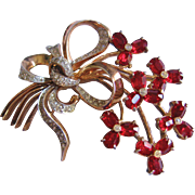 Vintage Gold Tone Washed Red Floral Bow Pin-Brooch
