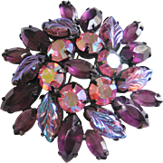 Vintage Purple Art Glass Brooch Pin
