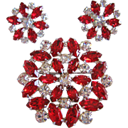 Vintage Red and Clear Rhinestone Pin-Brooch and Earrings
