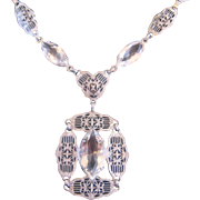 Vintage Filigree Pierce work Rhodium Plated Art Deco Necklace