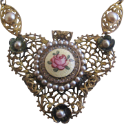 Vintage Brass and Guilloche Enamel Rose Necklace