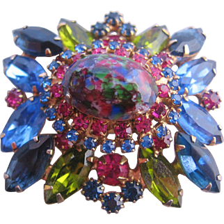 Vintage Juliana-Delizza and Elster Blue and Green Speckled Easter Egg Rhinestone Pin-Brooch