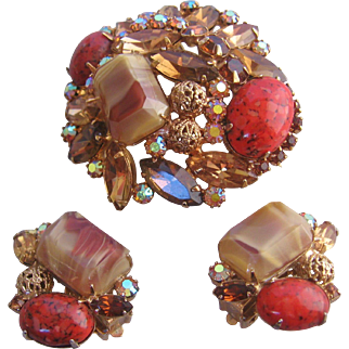 Rare Juliana -DeLizza and Elster Art Glass and Deep Amber Givre Glass Demi -Brooch/Earrings