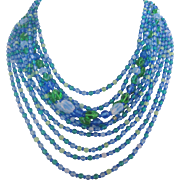 Vintage West German Eleven Strand Art Glass Bib Necklace