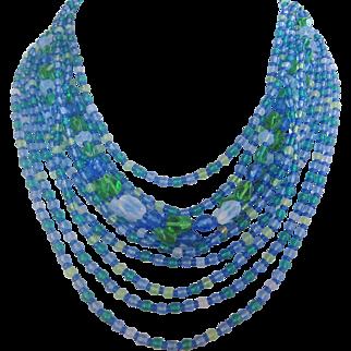 Vintage West German Eleven Strand Art Glass Bib Necklace
