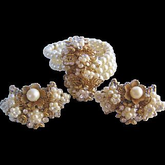 Vintage Simulated Pearl Wrap Bracelet and Earrings Set