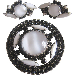 Vintage Black Rhinestone and White Glass Brooch and Earrings Set