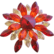 Vintage Red/Orange/Clear Starburst Flower Pin Brooch