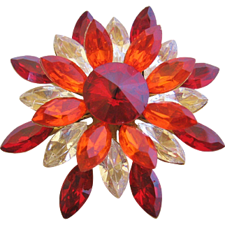 Vintage Red/Orange/Clear Starburst Flower Pin Brooch