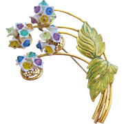 Vintage Crystal Flower and Enamel Pin-Brooch