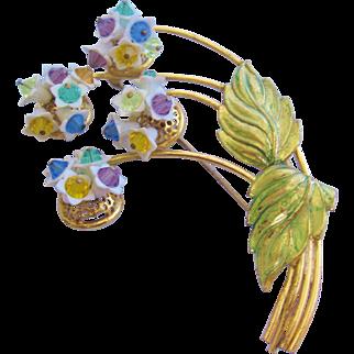 Vintage Crystal Flower and Enamel Pin-Brooch