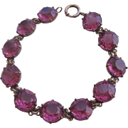 Vintage Art Deco Large Faceted Purple Crystal Bracelet