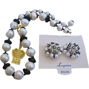 "Vintage Laguna Simulated Pearls ""The Crown Jewels Collection"" Necklace and Earrings"