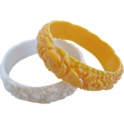 Vintage Celluloid Floral Bangle/Bracelet Set