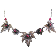 Vintage Art Nouveau Leaf and Flower Necklace with Paper Clip Chain and Raspberry Glass Beads