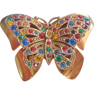 Vintage Czech Multi Colored Butterfly Pin-Brooch